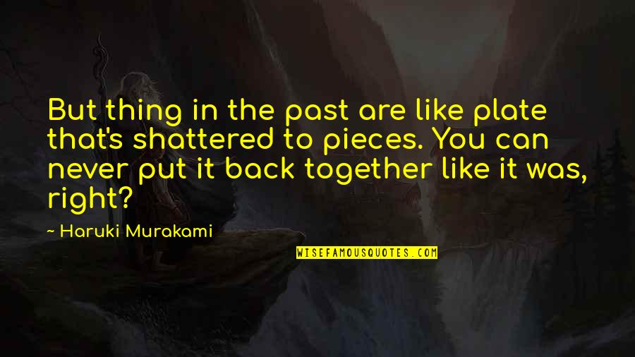 Geweldloosheid Quotes By Haruki Murakami: But thing in the past are like plate