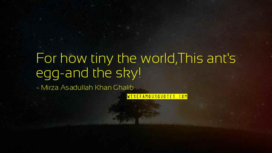 Ghalib Mirza Quotes By Mirza Asadullah Khan Ghalib: For how tiny the world,This ant's egg-and the