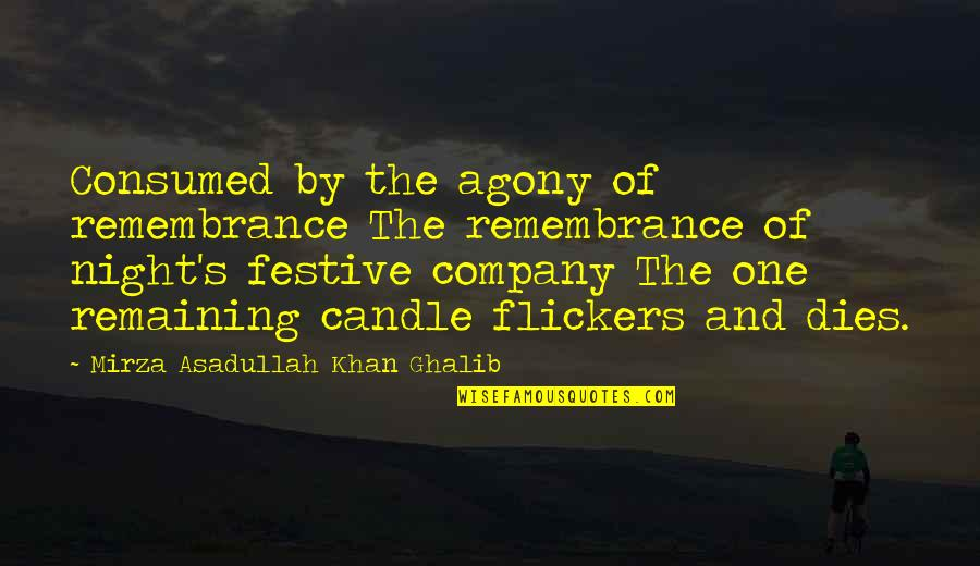 Ghalib Mirza Quotes By Mirza Asadullah Khan Ghalib: Consumed by the agony of remembrance The remembrance