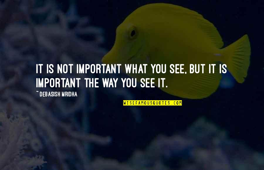 Ghoshes Quotes By Debasish Mridha: It is not important what you see, but