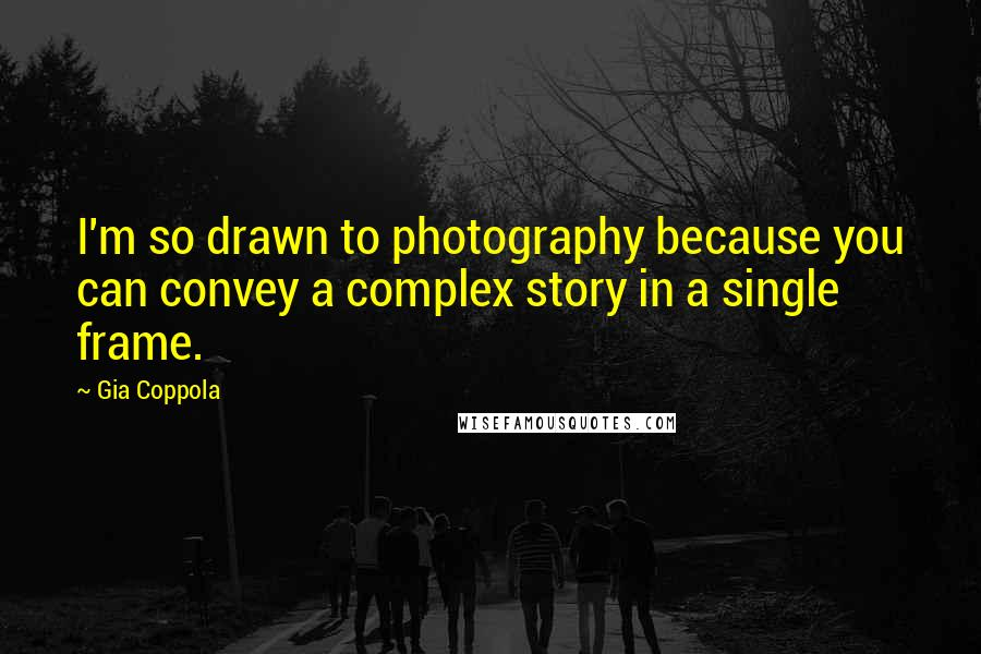 Gia Coppola quotes: I'm so drawn to photography because you can convey a complex story in a single frame.