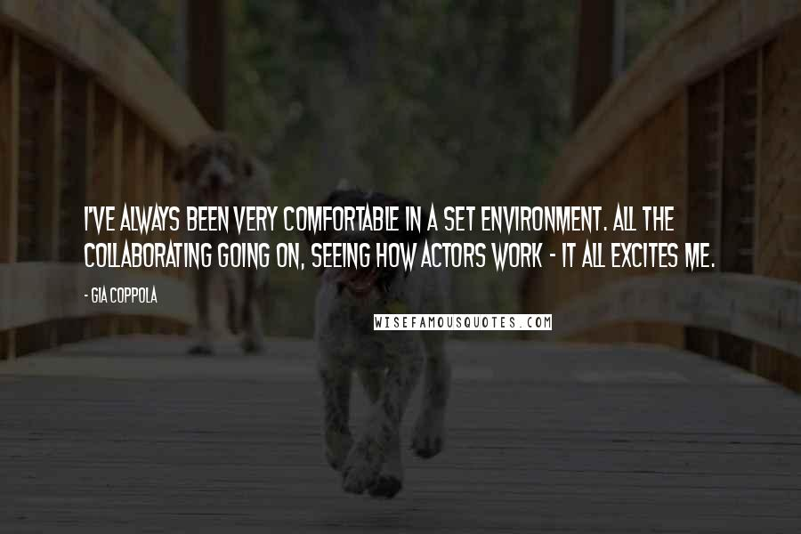 Gia Coppola quotes: I've always been very comfortable in a set environment. All the collaborating going on, seeing how actors work - it all excites me.