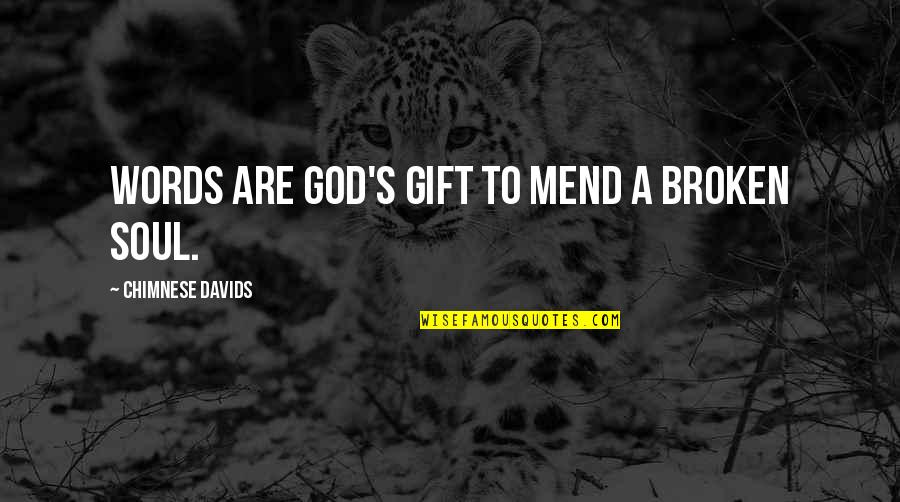 Gift To Self Quotes By Chimnese Davids: Words are God's gift to mend a broken