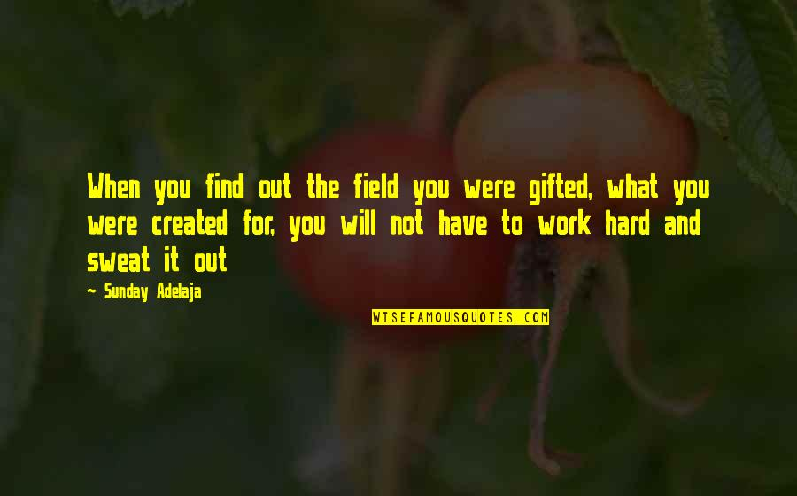 Gift To Self Quotes By Sunday Adelaja: When you find out the field you were