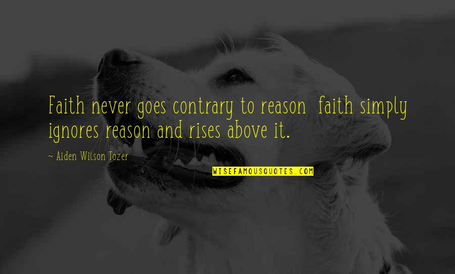 Gifts From The Sea Quotes By Aiden Wilson Tozer: Faith never goes contrary to reason faith simply
