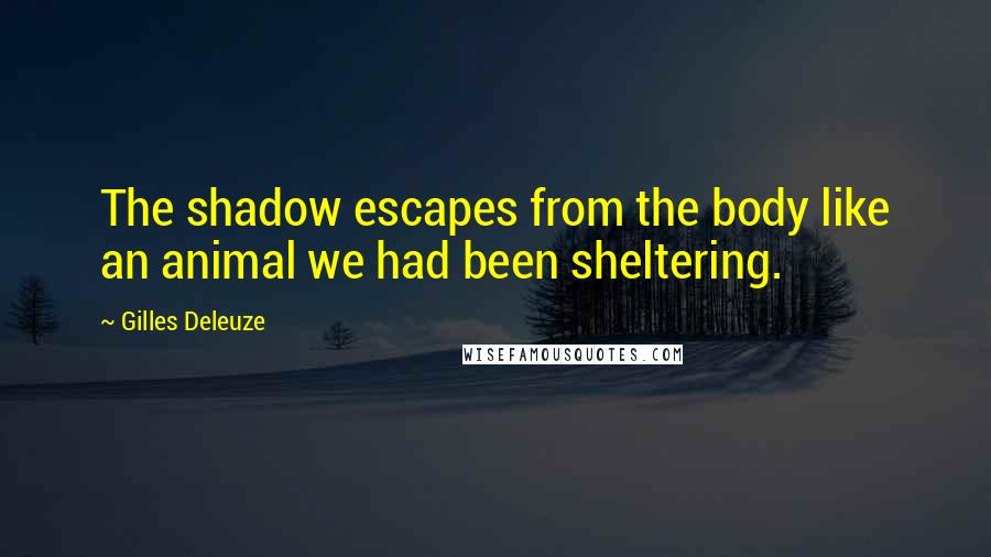 Gilles Deleuze quotes: The shadow escapes from the body like an animal we had been sheltering.