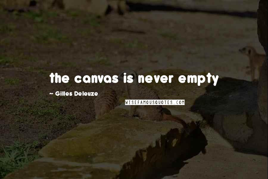 Gilles Deleuze quotes: the canvas is never empty