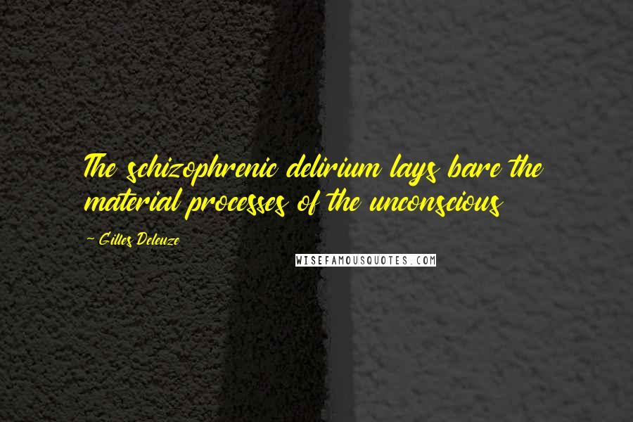 Gilles Deleuze quotes: The schizophrenic delirium lays bare the material processes of the unconscious