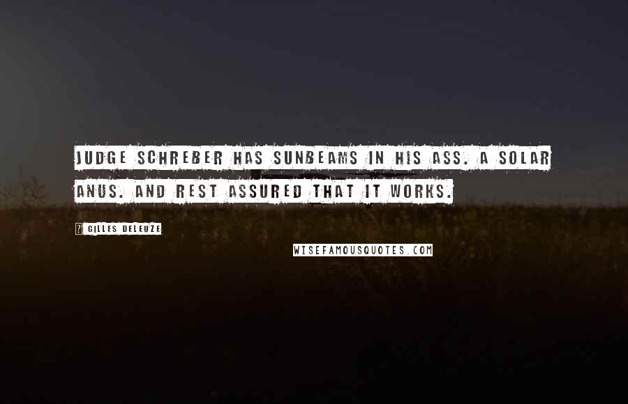 Gilles Deleuze quotes: Judge Schreber has sunbeams in his ass. A solar anus. And rest assured that it works.