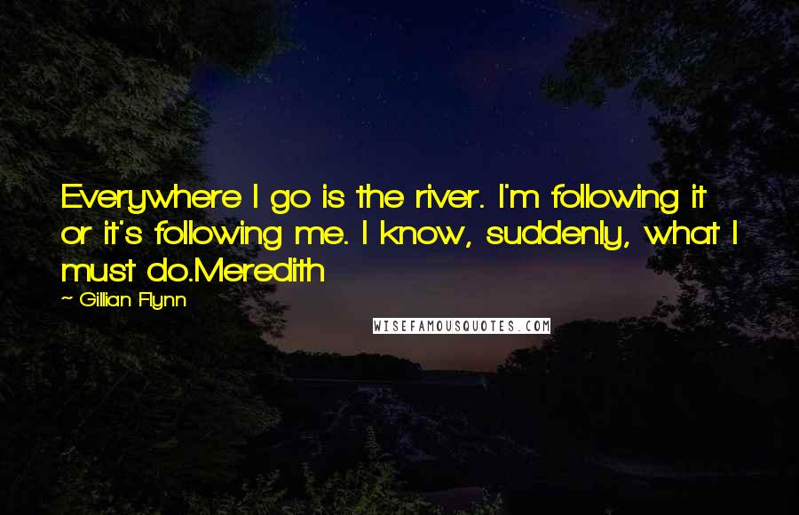 Gillian Flynn quotes: Everywhere I go is the river. I'm following it or it's following me. I know, suddenly, what I must do.Meredith