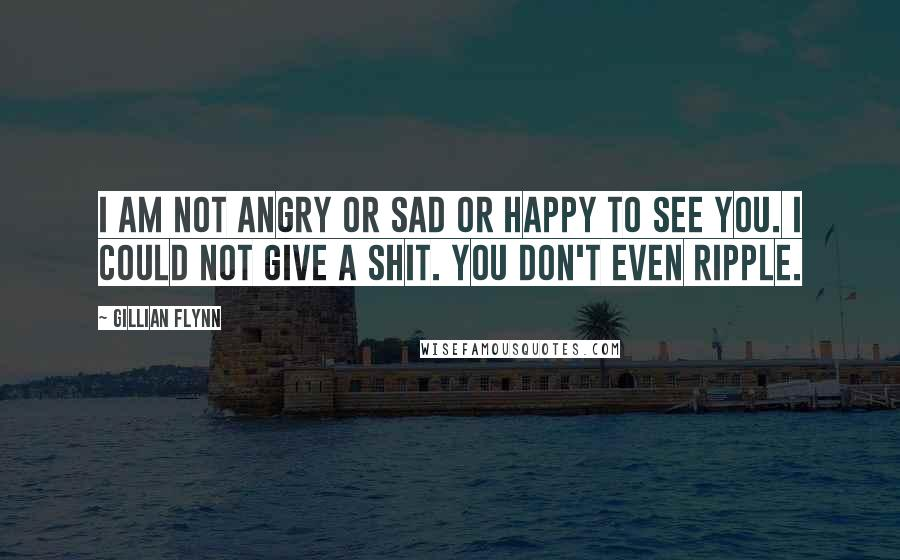 Gillian Flynn quotes: I am not angry or sad or happy to see you. I could not give a shit. You don't even ripple.