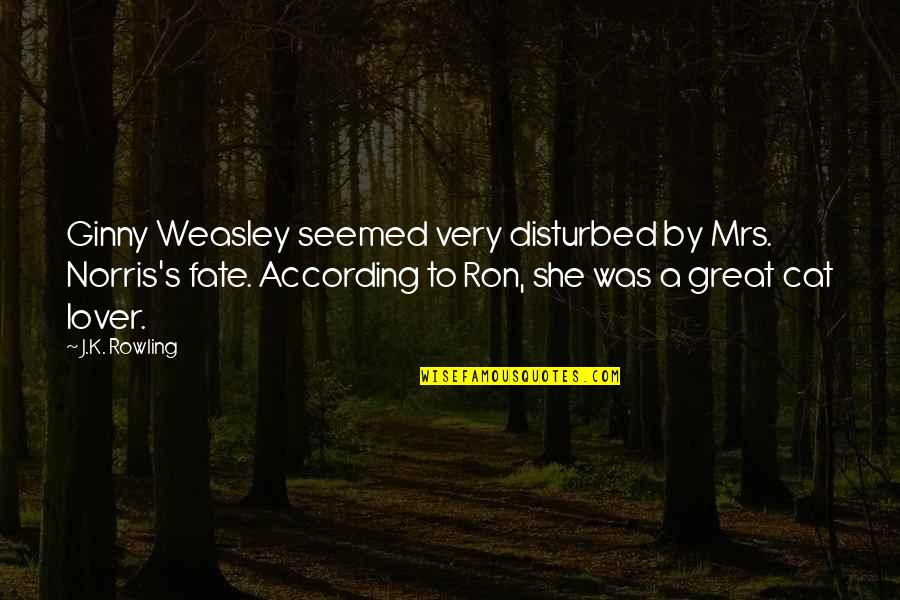 Ginny Quotes By J.K. Rowling: Ginny Weasley seemed very disturbed by Mrs. Norris's