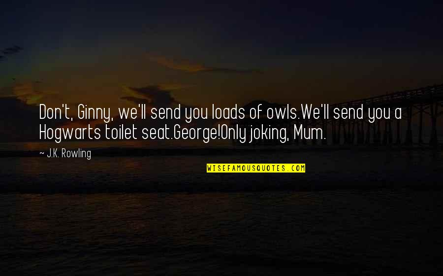 Ginny Quotes By J.K. Rowling: Don't, Ginny, we'll send you loads of owls.We'll