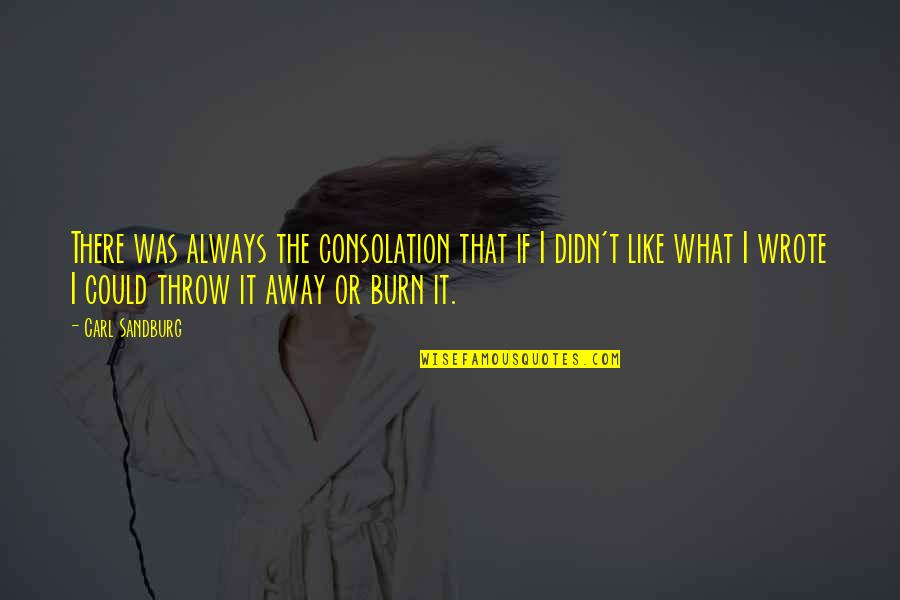 Girlfriend Birthday Card Quotes By Carl Sandburg: There was always the consolation that if I