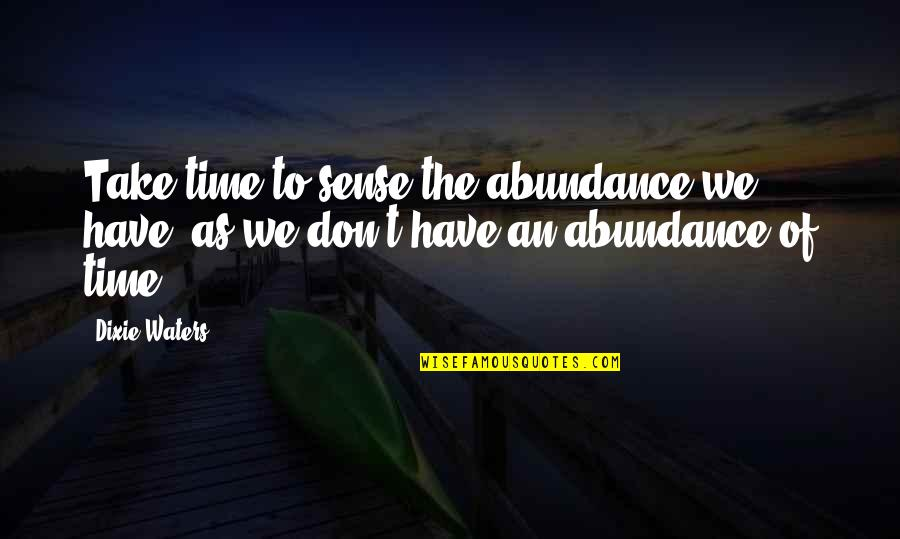 Give Time Love Quotes By Dixie Waters: Take time to sense the abundance we have,