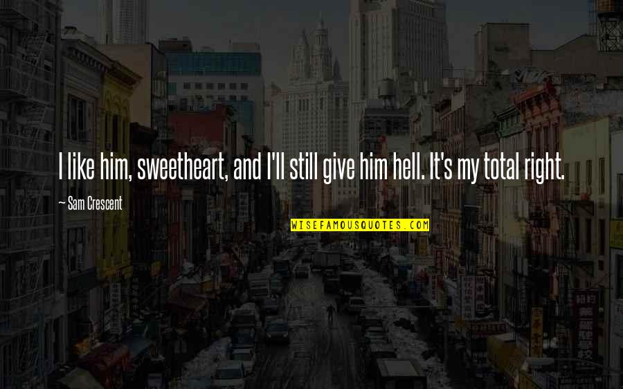 Give Up On Relationship Quotes By Sam Crescent: I like him, sweetheart, and I'll still give