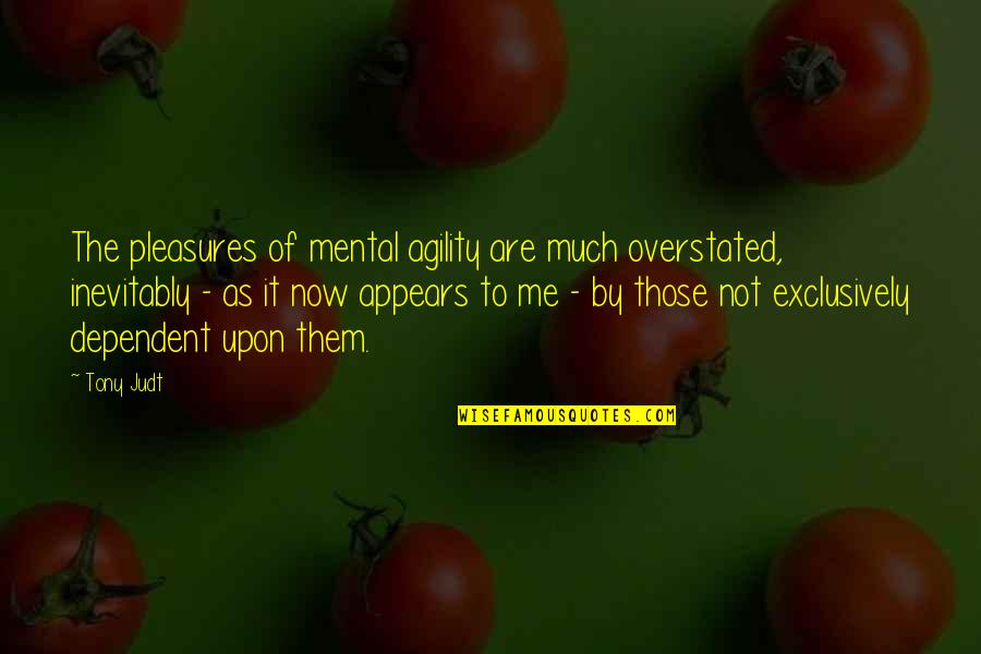 Giving God Your Worries Quotes By Tony Judt: The pleasures of mental agility are much overstated,