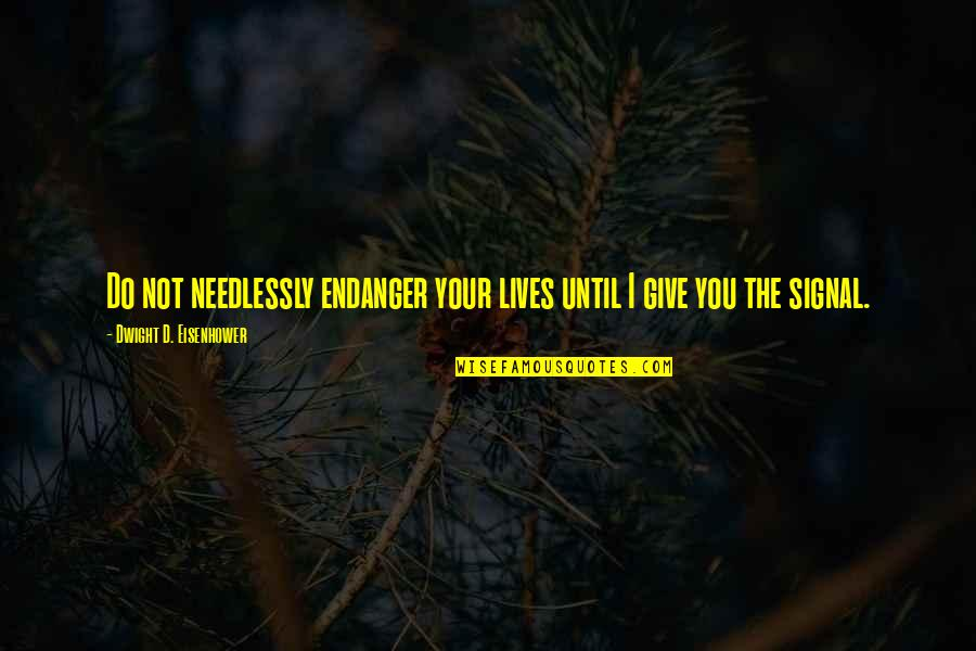 Giving Quotes By Dwight D. Eisenhower: Do not needlessly endanger your lives until I