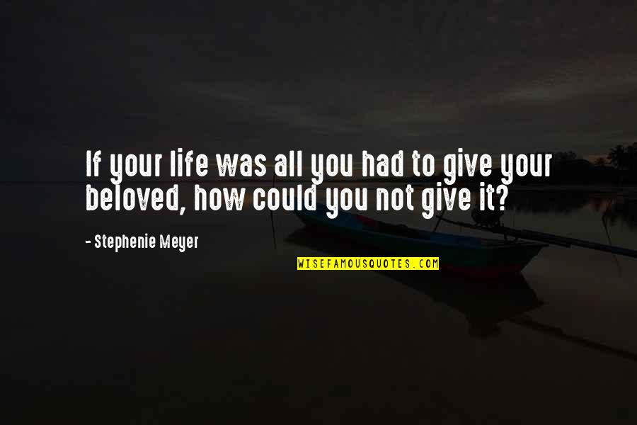 Giving Up On Love And Life Quotes By Stephenie Meyer: If your life was all you had to