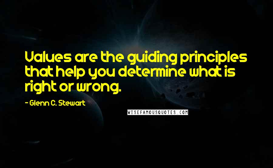 Glenn C. Stewart quotes: Values are the guiding principles that help you determine what is right or wrong.