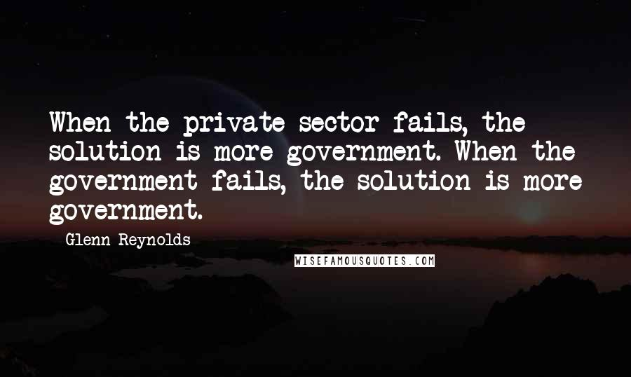 Glenn Reynolds quotes: When the private sector fails, the solution is more government. When the government fails, the solution is more government.
