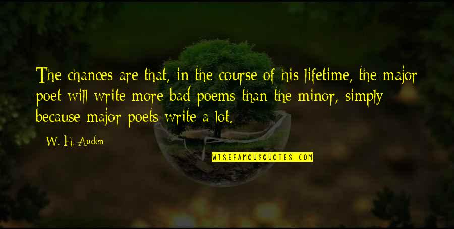 Glipmses Quotes By W. H. Auden: The chances are that, in the course of
