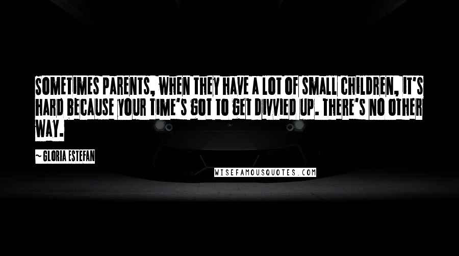 Gloria Estefan quotes: Sometimes parents, when they have a lot of small children, it's hard because your time's got to get divvied up. There's no other way.
