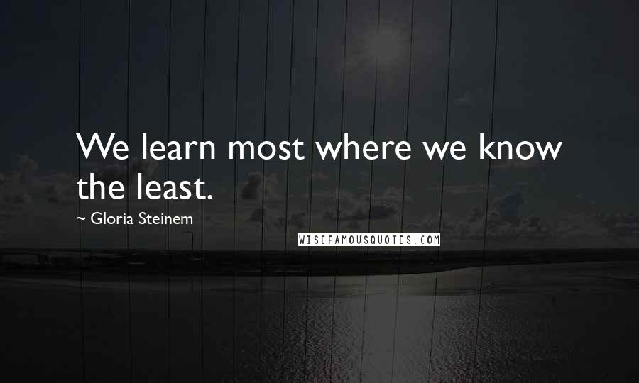 Gloria Steinem quotes: We learn most where we know the least.