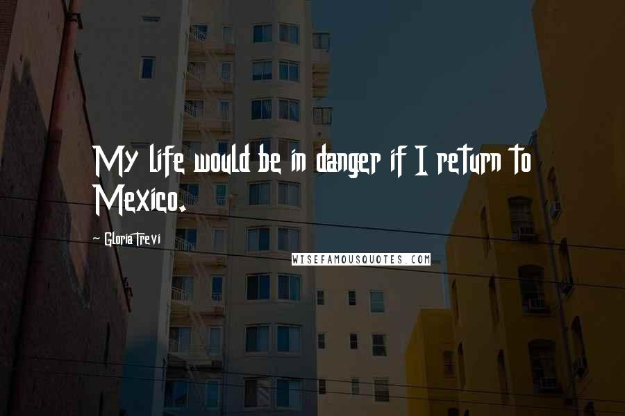Gloria Trevi quotes: My life would be in danger if I return to Mexico.