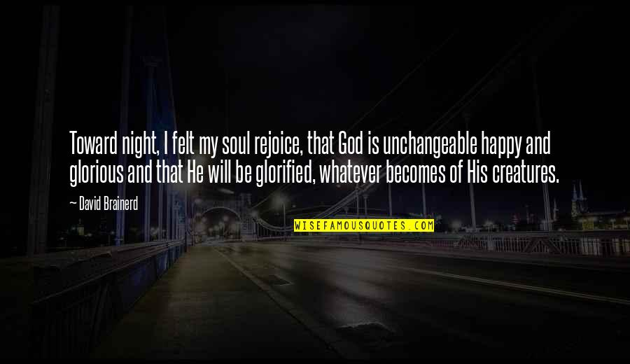 Glorified God Quotes By David Brainerd: Toward night, I felt my soul rejoice, that