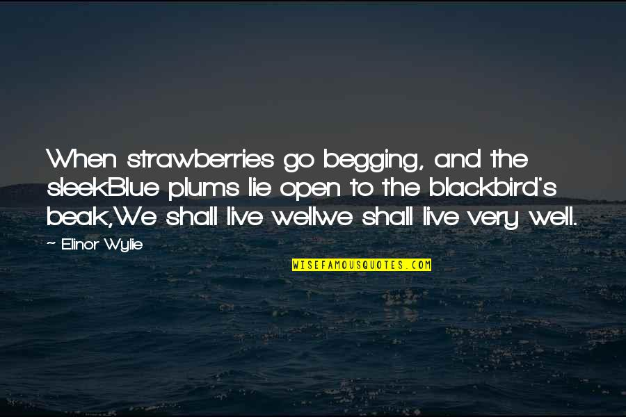Go Blue Quotes By Elinor Wylie: When strawberries go begging, and the sleekBlue plums