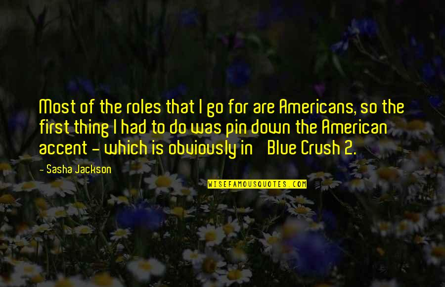 Go Blue Quotes By Sasha Jackson: Most of the roles that I go for