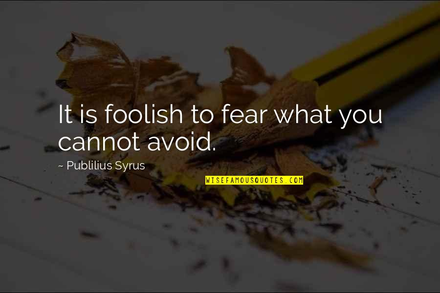 Go Getters Quotes By Publilius Syrus: It is foolish to fear what you cannot