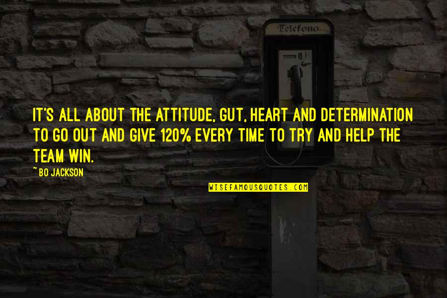 Go Team Quotes By Bo Jackson: It's all about the attitude, gut, heart and
