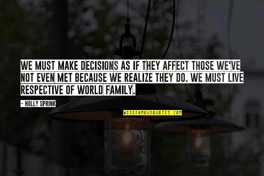 God And Decisions Quotes By Holly Sprink: We must make decisions as if they affect