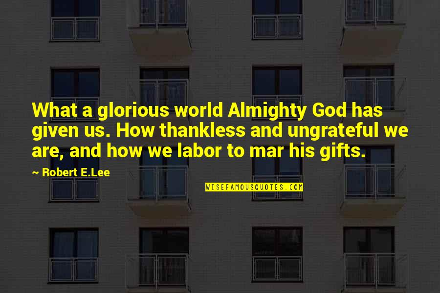 God And Gifts Quotes By Robert E.Lee: What a glorious world Almighty God has given