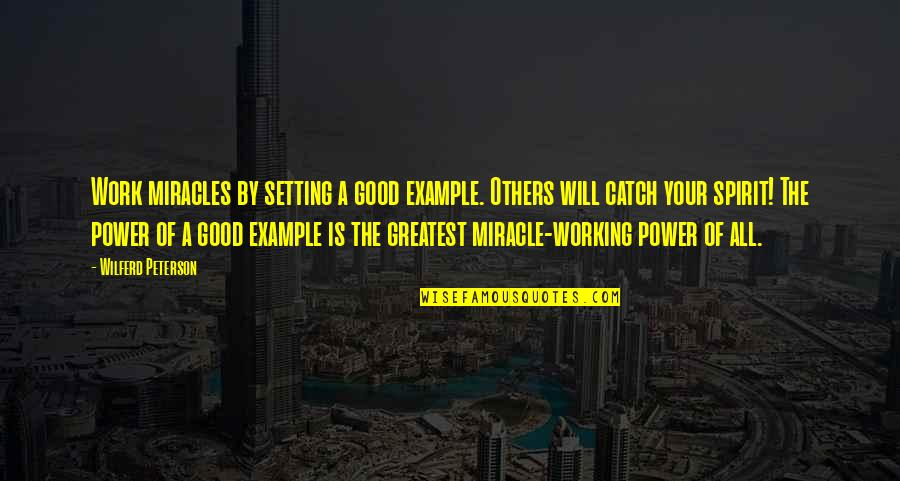 God Good Work Quotes By Wilferd Peterson: Work miracles by setting a good example. Others