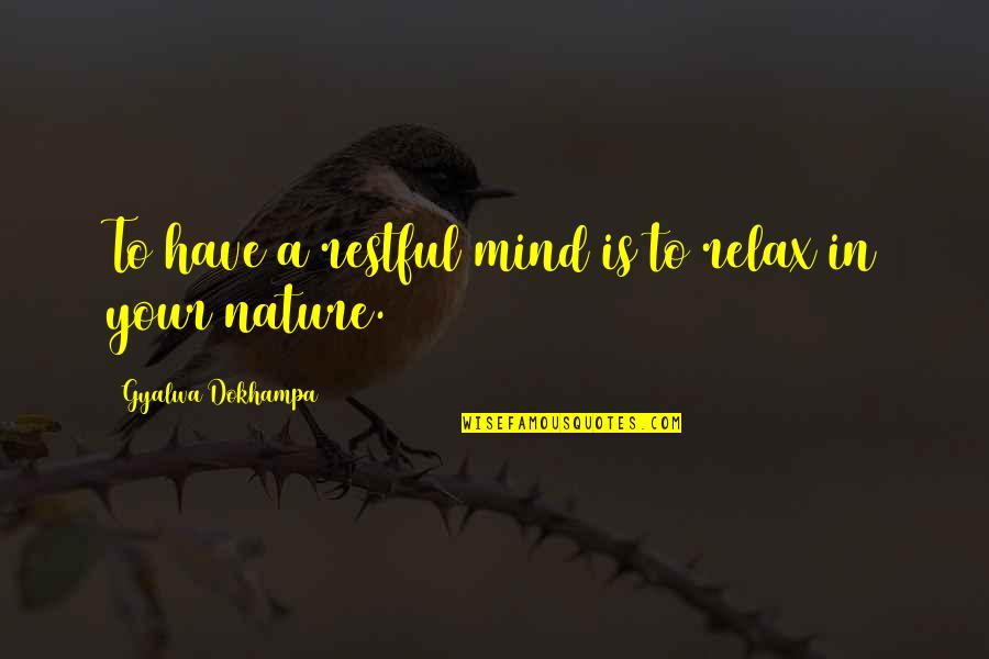 God Is In Control Images And Quotes By Gyalwa Dokhampa: To have a restful mind is to relax