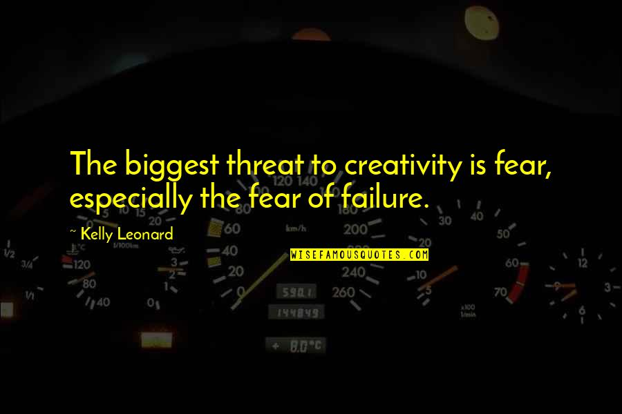 God Is In Control Images And Quotes By Kelly Leonard: The biggest threat to creativity is fear, especially