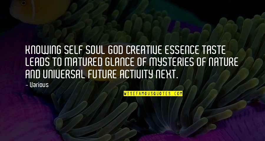 God Knowing Your Future Quotes By Various: KNOWING SELF SOUL GOD CREATIVE ESSENCE TASTE LEADS