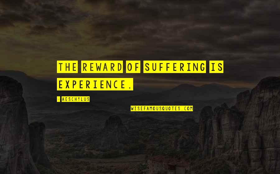 God Making Things Possible Quotes By Aeschylus: The reward of suffering is experience.