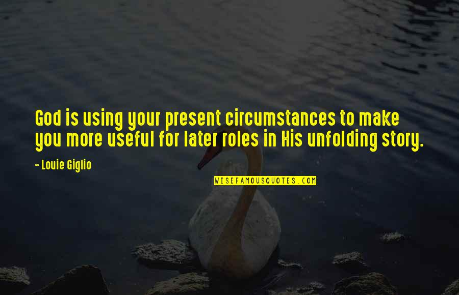 God Using You Quotes By Louie Giglio: God is using your present circumstances to make