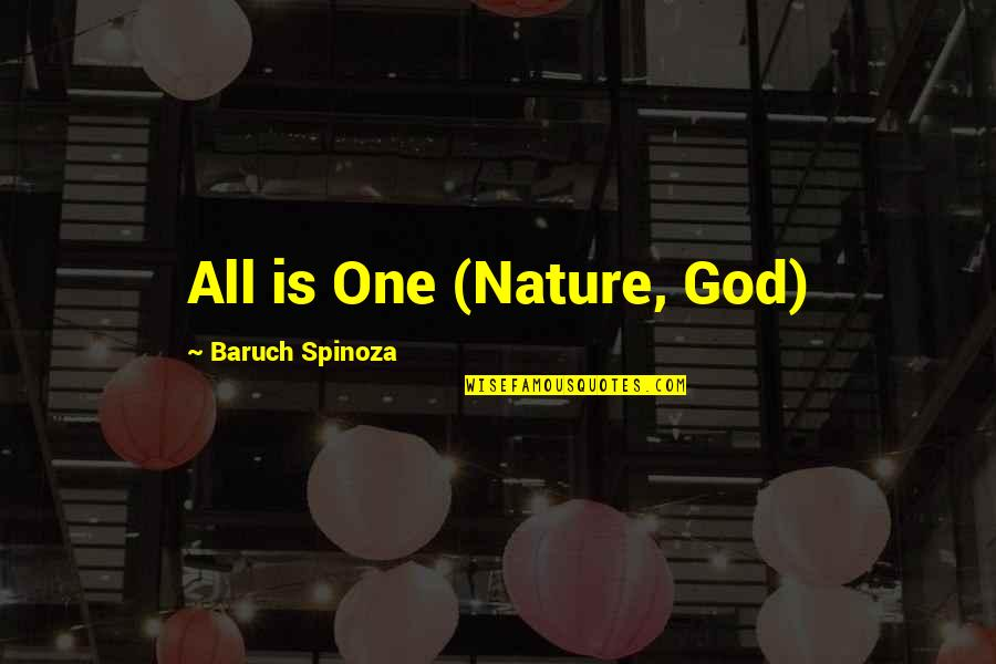 God Vs Nature Quotes By Baruch Spinoza: All is One (Nature, God)