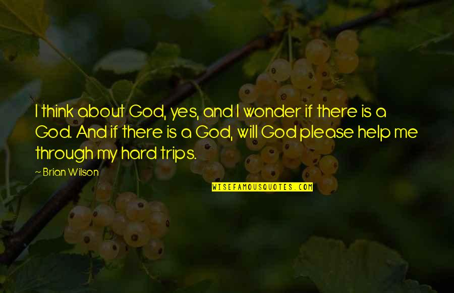 God Will Help You Through Quotes By Brian Wilson: I think about God, yes, and I wonder