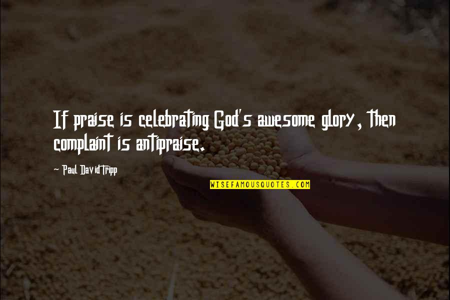 God You Are Awesome Quotes By Paul David Tripp: If praise is celebrating God's awesome glory, then
