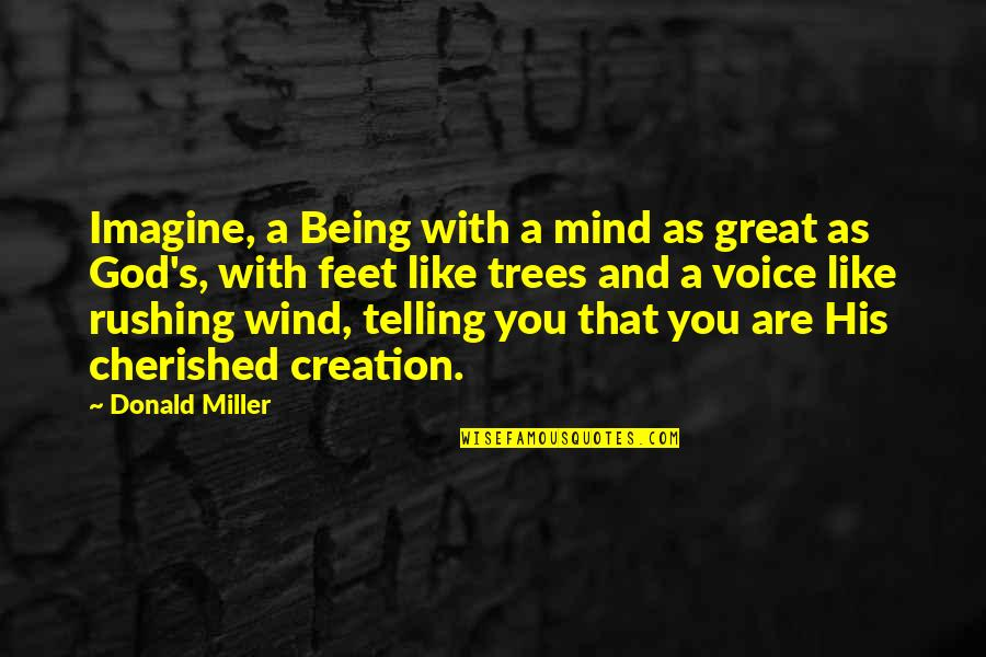 God's Creation Quotes By Donald Miller: Imagine, a Being with a mind as great