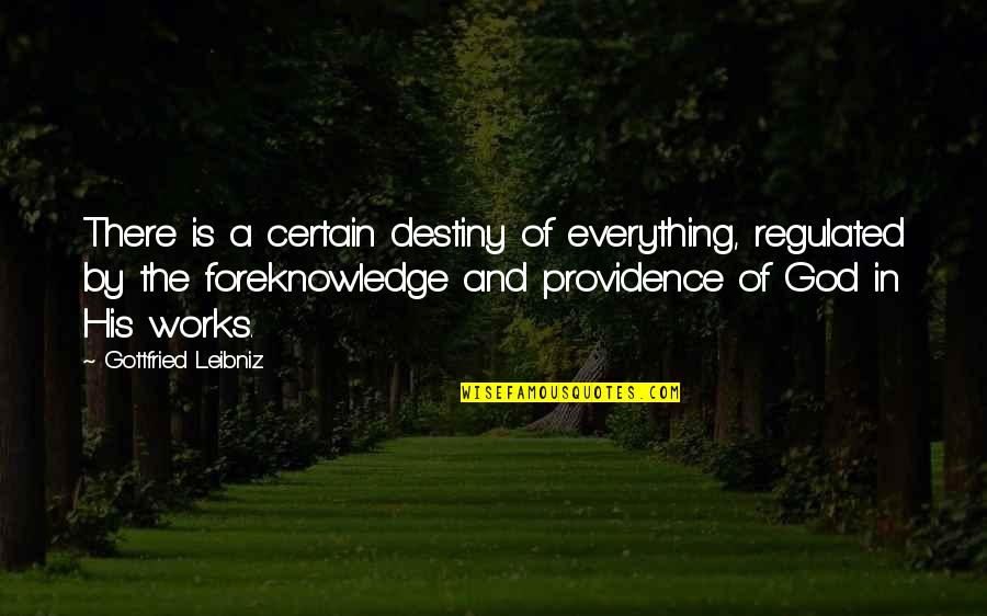 God's Providence Quotes By Gottfried Leibniz: There is a certain destiny of everything, regulated