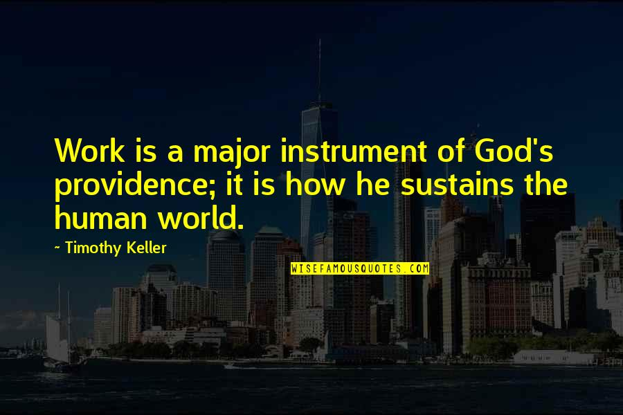 God's Providence Quotes By Timothy Keller: Work is a major instrument of God's providence;
