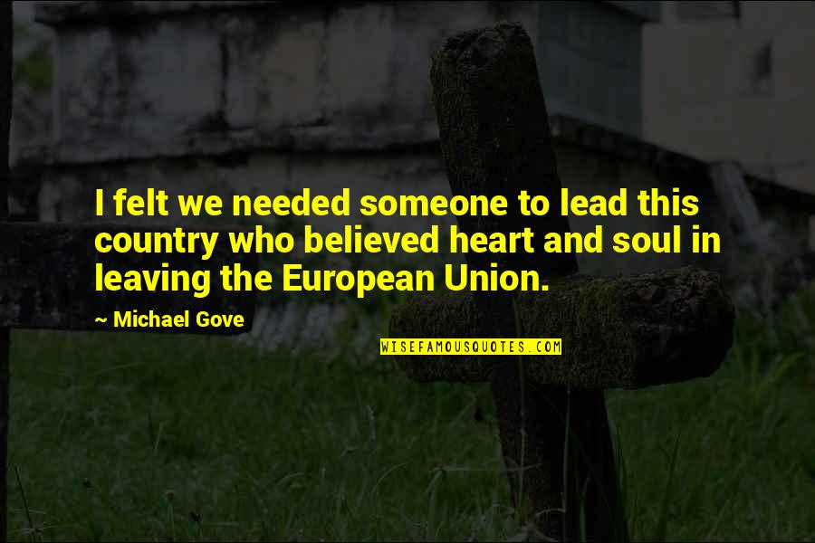 Going Back To His Ex Quotes By Michael Gove: I felt we needed someone to lead this