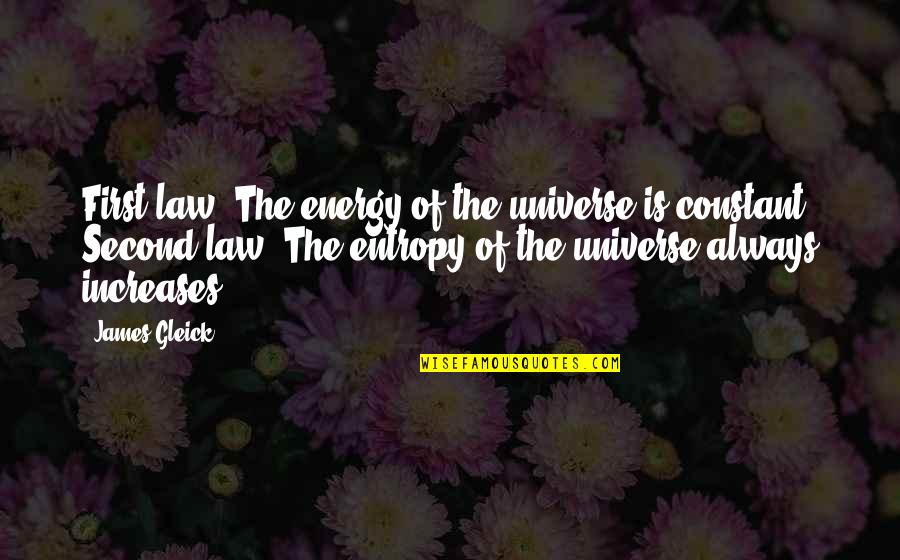 Going Down Swinging Quotes By James Gleick: First law: The energy of the universe is